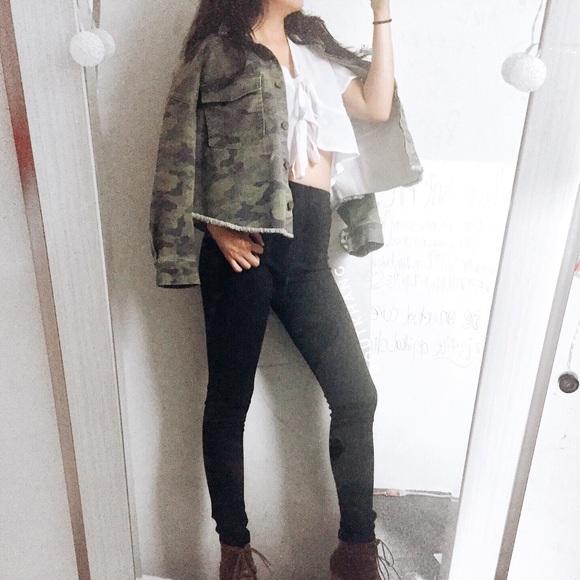 Jackets & Blazers - Camo Crop Jacket